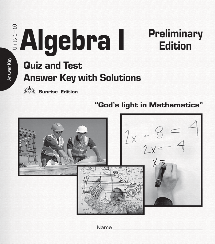 ALGEBRA I - Quizzes & Tests - Solution Key