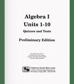 ALGEBRA I - Quizzes & Tests Packet