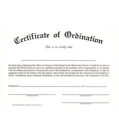 Minister Ordination Certificate