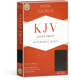 Giant Print Reference Bible - Black Genuine Leather - Indexed - KJV