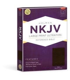 Large Print UltraThin Reference Bible - Black Genuine Leather - NKJV