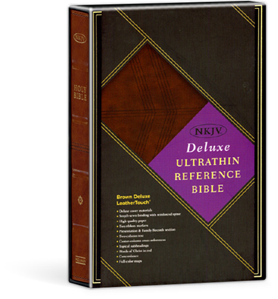UltraThin Reference Bible - Deluxe Brown LeatherTouch - NKJV