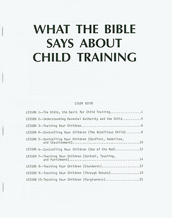 Child Training - Study Guide